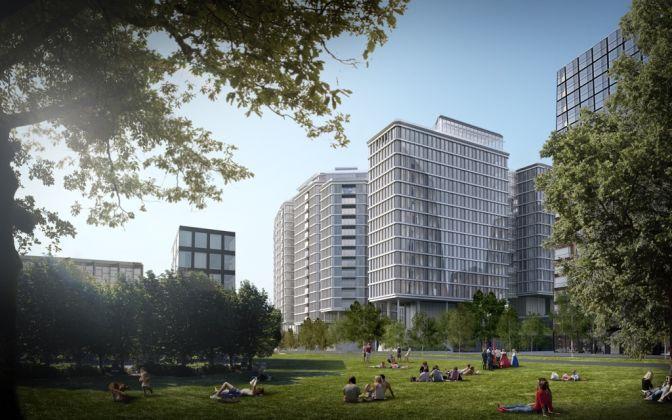 Vienna, Quartier Belvedere, Renzo Piano (Südbahnhof mixed use development) © RPBW, rendering by ANIMA
