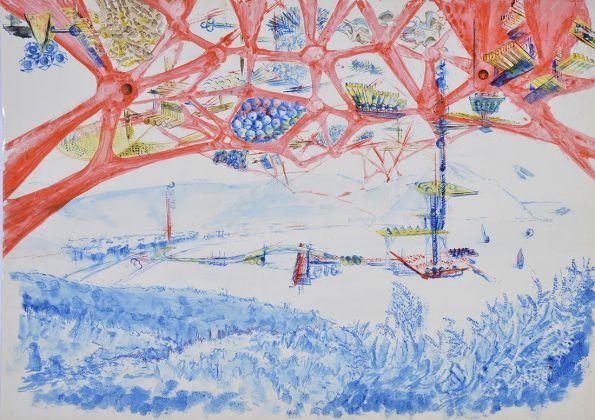 Vittorio Giorgini, dalla serie Scenari urbani futuribili, tecnica mista su carta fotografica, 1964 68, Courtesy Associazione B.A.Co. – Archivio Vittorio Giorgini