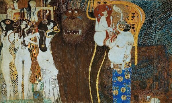 G. Klimt, L'Anelito alla felicità si placa nella Poesia particolare del Fregio di Beethoven, tecnica mista su intonaco, 1902, Secessionhaus, Vienna