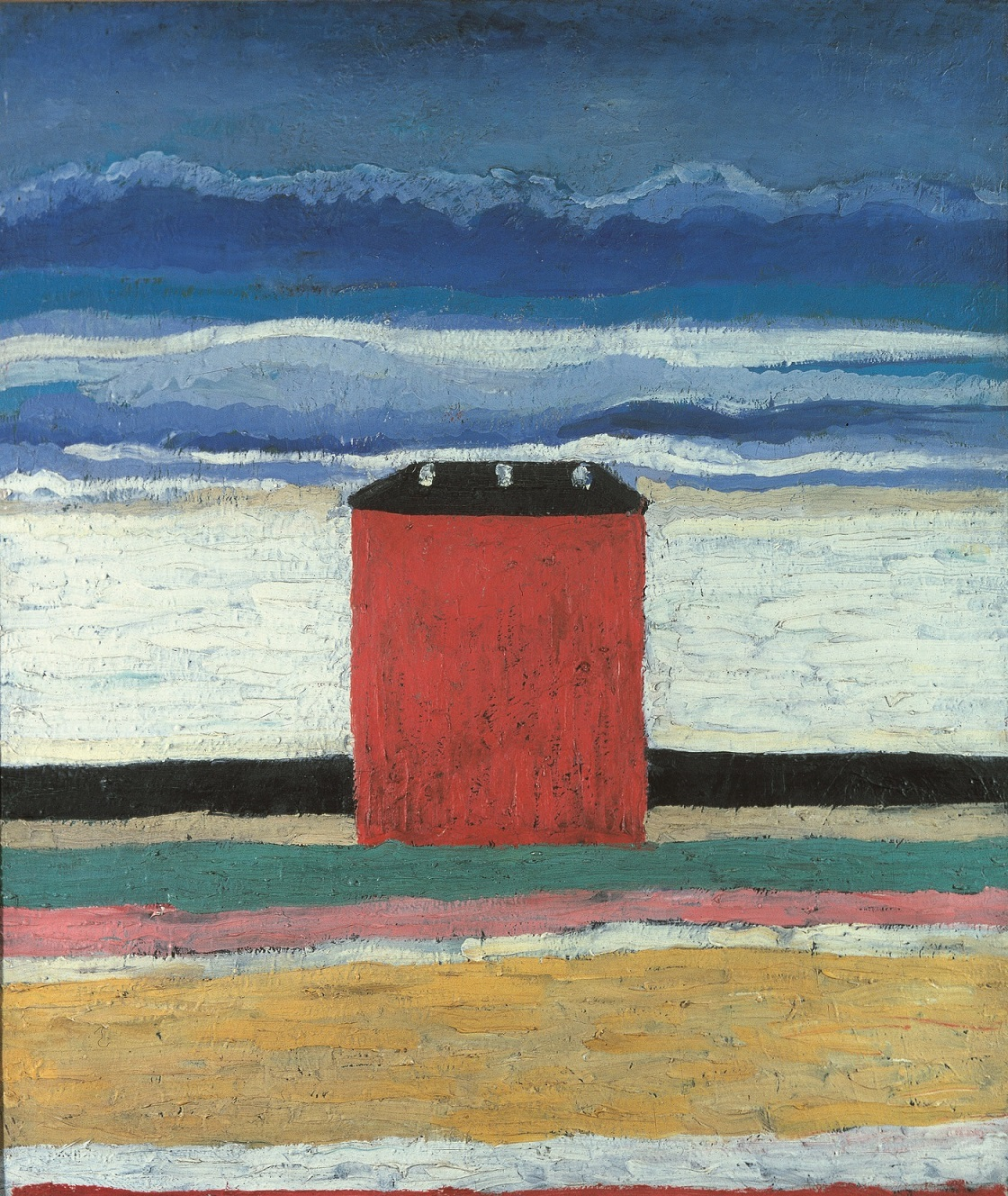 Kazimir Malevič, Casa rossa (1932), olio su tela, 63 x 55 cm, Museo di Stato Russo, San Pietroburgo