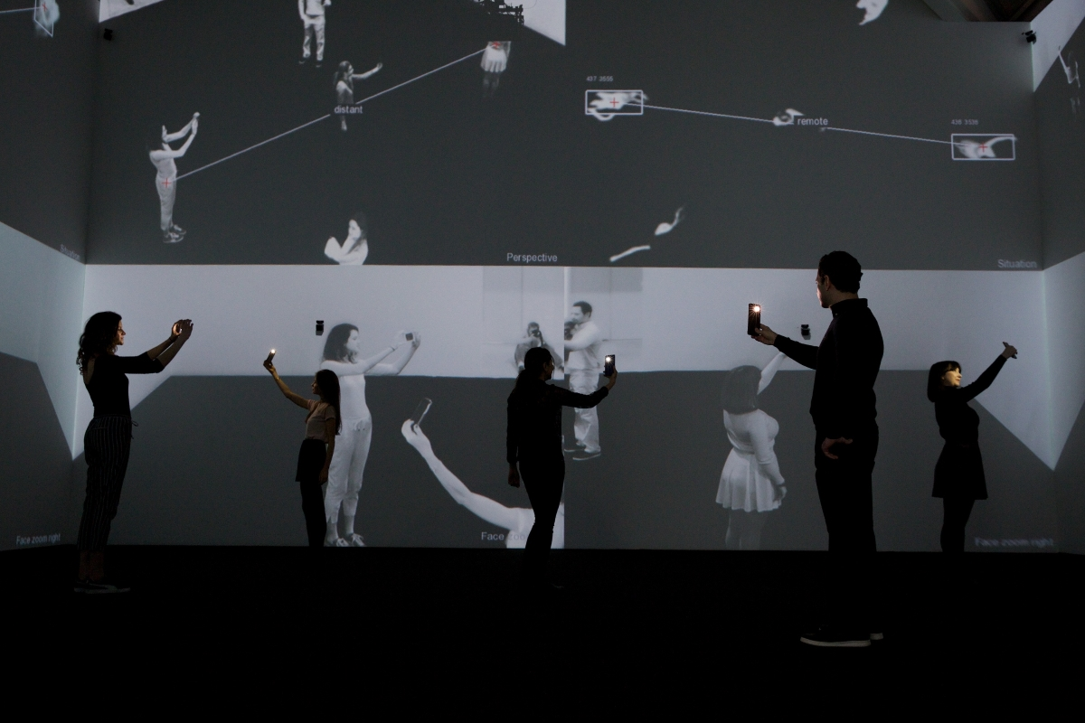 From Selfie to Self-Expression, installation view, Rafael Lozano Hemmer and Krzysztof Wodiczko © Piers Allardyce 2017 Image courtesy of the Saatchi Gallery, London