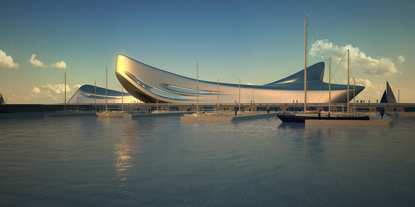 Regium Waterfront, Reggio Calabria 2007 - TBC Render, Courtesy Zaha Hadid Architects