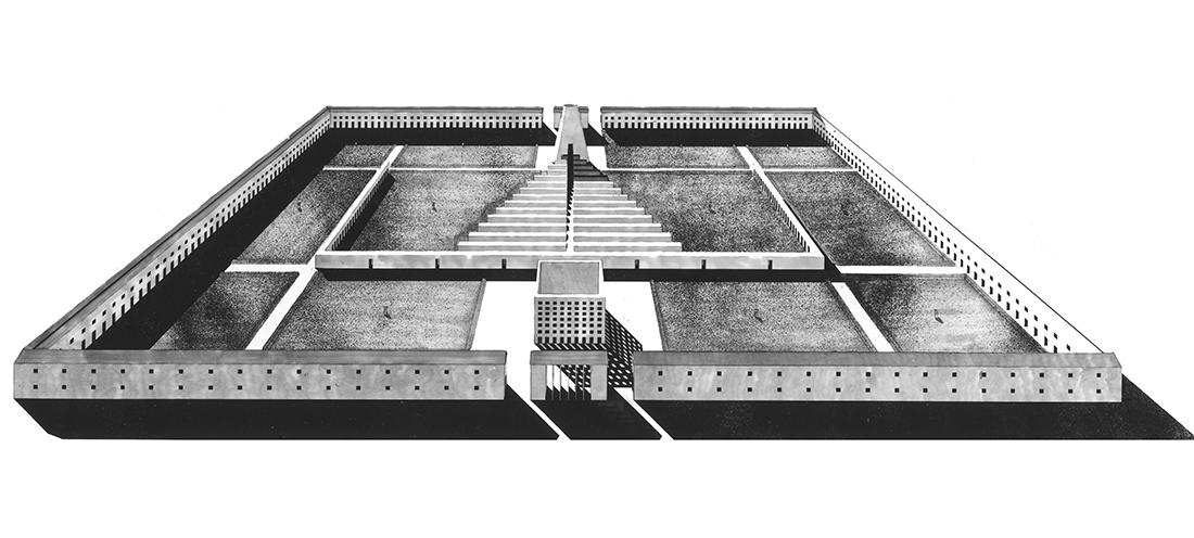 A. Rossi, G. Braghieri, progetto di concorso di prima fase per l'ampliamento del cimitero di San Cataldo, Modena, 1971 ©2017 Eredi Aldo Rossi
