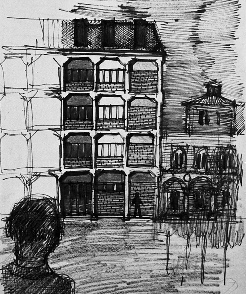 Aldo Rossi, progetto per un edificio per uffici, corso di Composizione I, Politecnico di Milano, s.d.