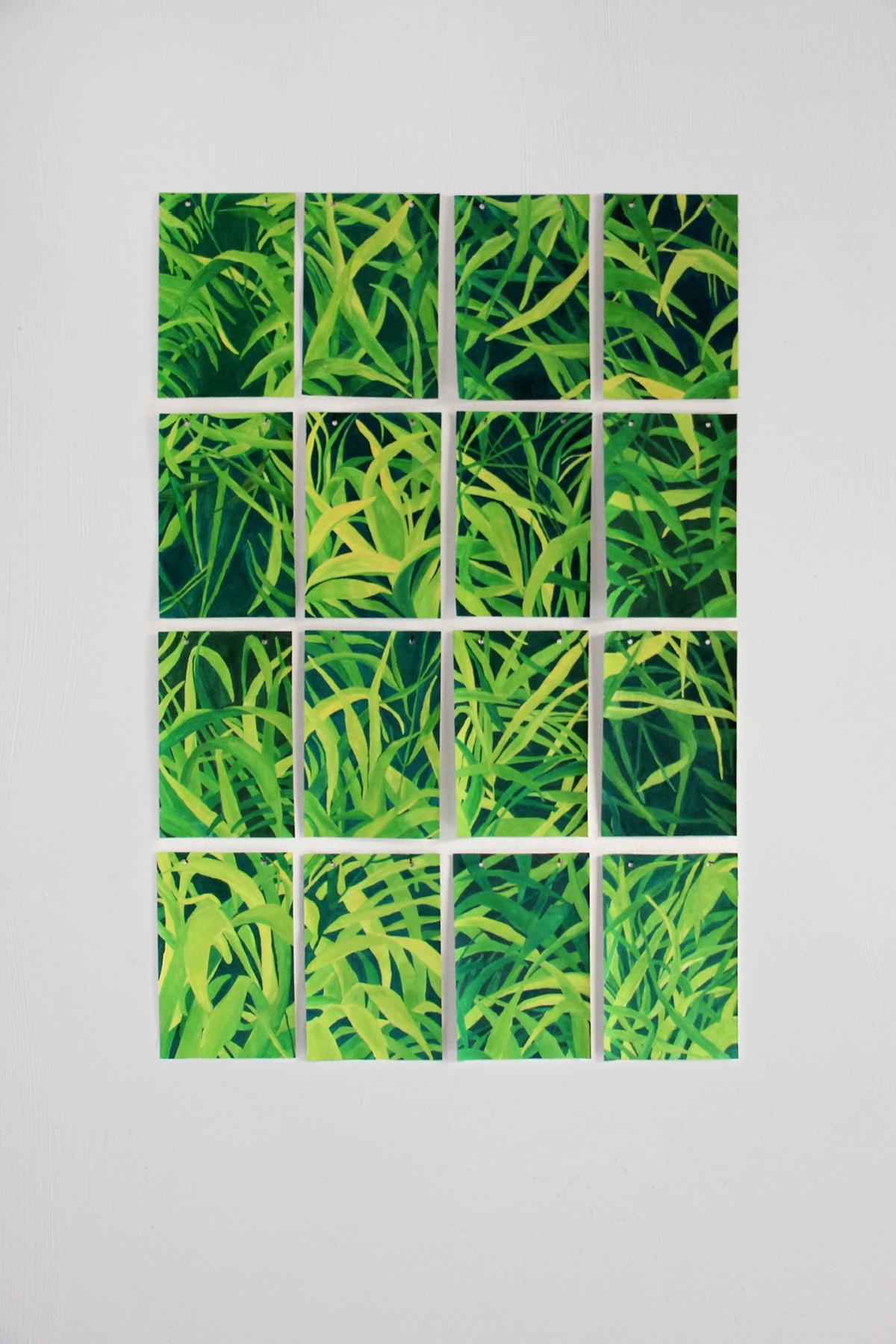 Barbara Baroncini, È l'immagine che ho dentro, 2016, tempera su carta, 14 x 21 cm. ciascuno (16 pezzi); Per non essere banali, 2015, incisione su lastra di zinco, 10,5 x 15 cm. ciascuno (8 pezzi)