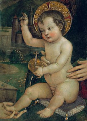 Bernardino di Betto, detto Pintoricchio (Perugia c. 1454 – Siena 1513) Bambin Gesù delle mani, frammento della distrutta Investitura divina di Alessandro VI, c. 1492 1493 dipinto murario entro cornice s