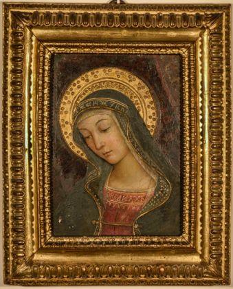Bernardino di Betto, detto Pintoricchio (Perugia c. 1454 – Siena 1513) Madonna, frammento della distrutta Investitura divina di Alessandro VI, c. 1492 1493 dipinto murario entro cornice seicentesca, cm