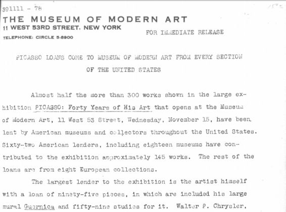 Comunicato stampa della mostra Picasso. Forty Years of His Art, MoMA, New York 1939