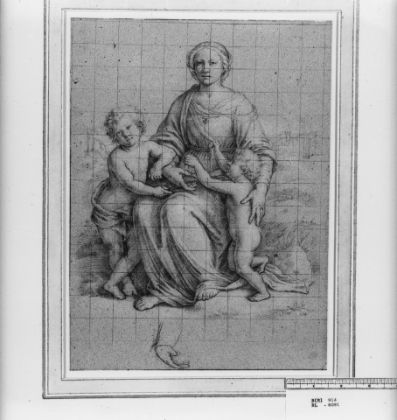 Disegno Windsor RCIN 906091, The Madonna and Child with St John,Royal Collection Trust© Her Majesty Queen Elizabeth II