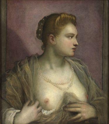 Domenico Tintoretto, Ritratto di donna che mostra il petto, nono decennio del XVI sec. Madrid, Museo del Prado