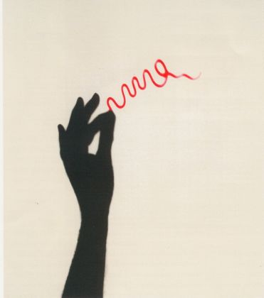 Markus Raetz, Flourish, 2001, photogravure printed in red and black on Gampi paper chine collé