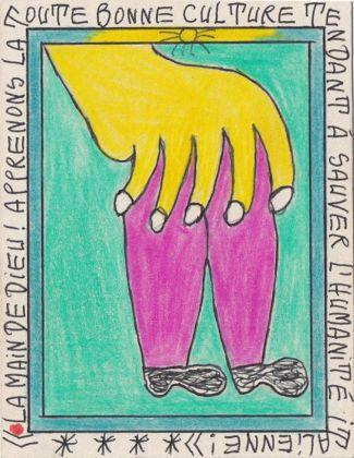 Frédéric Bruly Bouabré, La main de Dieu! Apprenons la toute bonne culture tendant à sauver l'humanité italienne!, 2012, courtesy Collection Patrick Fuchs, Bénédicte Montant, Marco Colucci, Ginevra