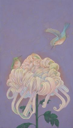 Fuco Ueda, Fragment of daydream I, acrylic and shell white on canvas, 33x19 cm
