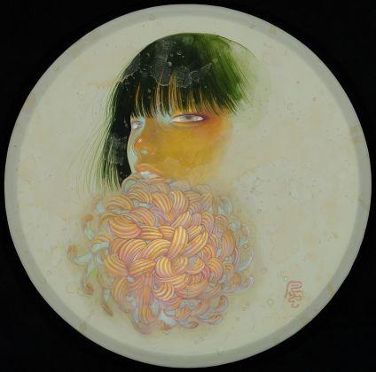 Fuco Ueda, KIKU KA, acrylic and shell white on canvas, 25 cm