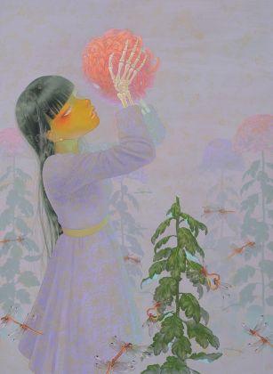 Fuco Ueda, Kiss, acrylic and shell white on canvas, 72x53 cm