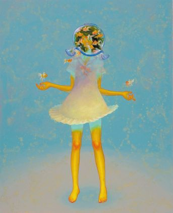Fuco Ueda, Symbiosis III, acrylic and shell white on canvas, 80x65 cm