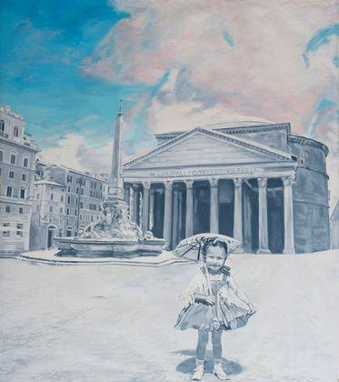 Gian Marco Montesano, Al sole sola al Pantheon 2012, olio su tela, 150x130 cm