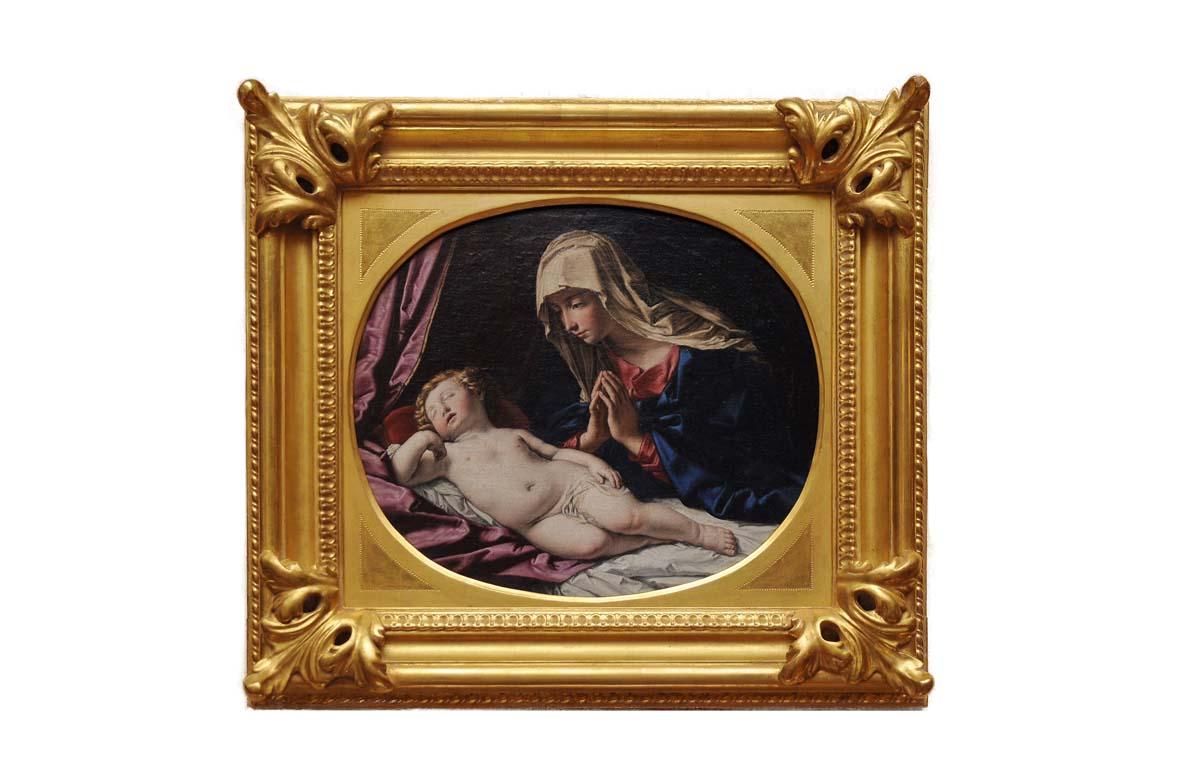 Giovan Battista Salvi detto il Sassoferrato,Madonna col Bambinodetta ancheVergine con Bambino dormiente, Veneto banca, Fabriano