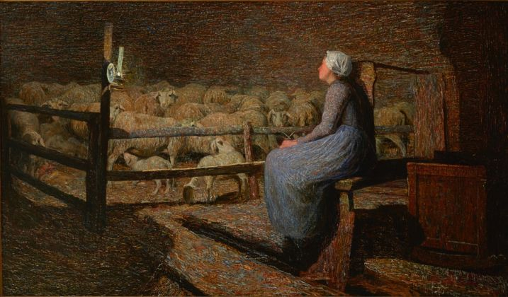 Giovanni Segantini , All'ovile, olio su tela, 68 x 115 cm