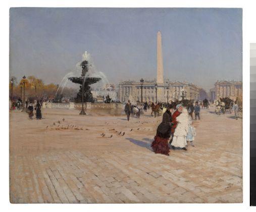 Giuseppe De Nittis, Un angolo della Piazza della Concordia a Parigi, olio su tela, 52 x 43,5 cm