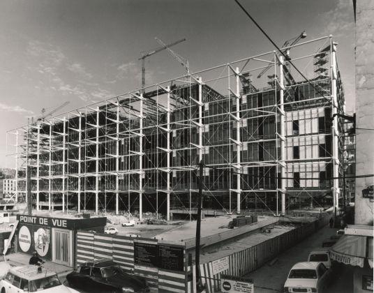 Il Centre Pompidou in costruzione. © Studio Piano & Rogers © Fondazione Renzo Piano