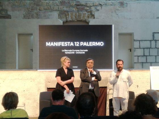 Hedwig Fijen, Leoluca Orlando, Andrea Cusumano, inaugurazione di Aspettando Manifesta. Palermo, Teatro Garibaldi
