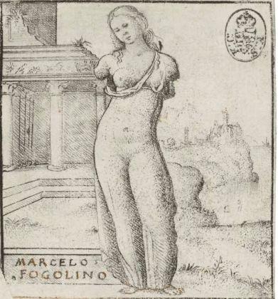 Marcello Fogolino, Incisione raffigurante una statua classica di fanciulla, Dresda, StaatlichenKunstammlungen