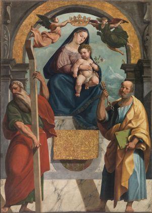 Marcello Fogolino, Madonna in trono con Bambino, tra i SS. Andrea e Pietro, Chiesa Parrocchiale SS. Pietro e Andrea, Povo