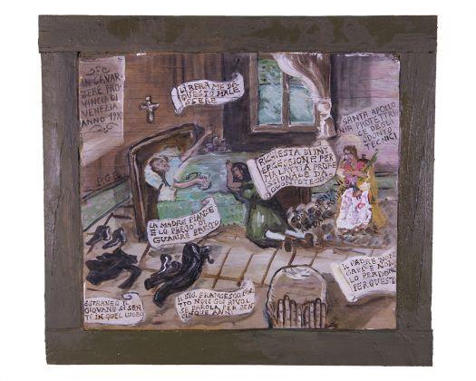 Maurizio Finotto, Vita, morte e miracoli, 2015 17, olio su legno e latta, courtesy l'artista