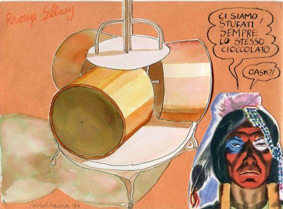 Pablo Echaurren, Ci siamo stufati! Sempre lo stesso cioccolato! 1, 1977, tecnica mista su carta, 15 x 20,5 cm