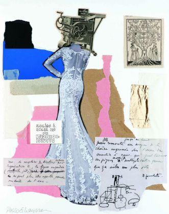 Pablo Echaurren, Il ritardo della sposa (con applicato un disegno originale di Gianfranco Baruchello, 1970), 2016, collage, 35,5 x 28 cm