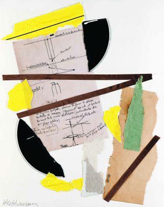 Pablo Echaurren, Incontro fortuito in una scatola verde, 2016, collage, 35,5 x 28 cm