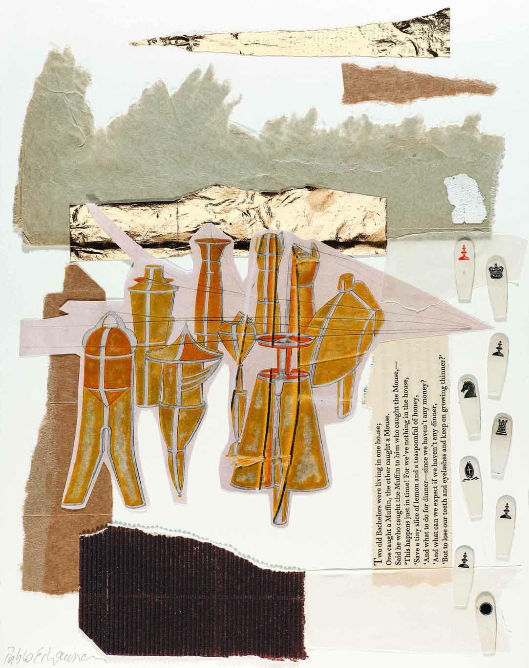 Pablo Echaurren, The golden bachelors, 2016, collage, 35,5 x 28 cm