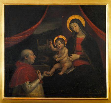 Pietro Fachetti Investitura divina di Alessandro VI (copia dal dipinto murario di Pintoricchio), 1612olio su tela, cm 115.5 x 124 Collezione privata