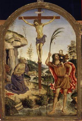 Pintoricchio, Crocifisso tra i Santi Girolamo e Cristoforo, c. 1477, olio su tavola, cm 59 x 44, Roma, Galleria Borghese, inv. 377