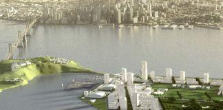 Il rendering del futuro parco di arte pubblica a Tresaure Island. Ph. TIDA