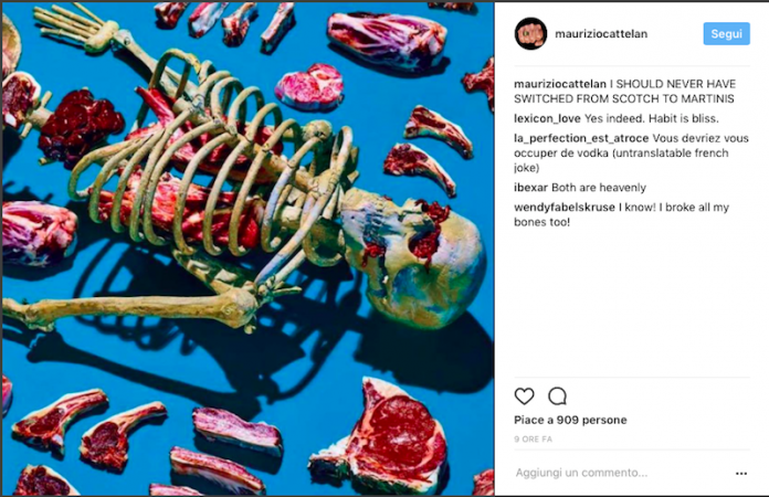 I SHOULD NEVER HAVE SWITCHED FROM SCOTCH TO MARTINIS, Maurizio Cattelan su Instagram