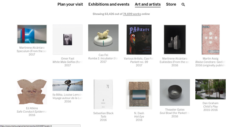 Screenshot dal sito del MoMA di New York