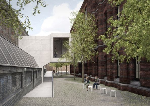 The Link Bridge viewed from the Schools Courtyard in 2018 © David Chipperfield Architects