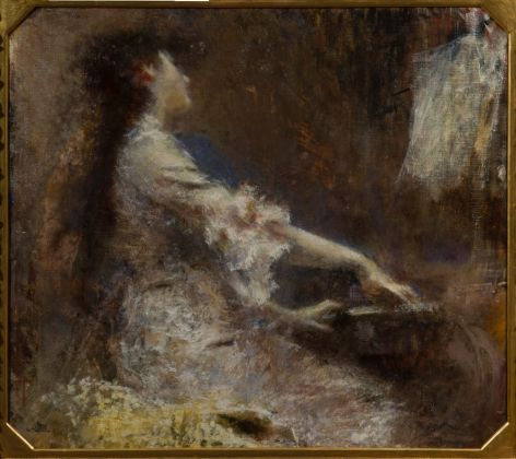 Tranquillo Cremona, Melodia, olio su tela, 115 x 129 cm