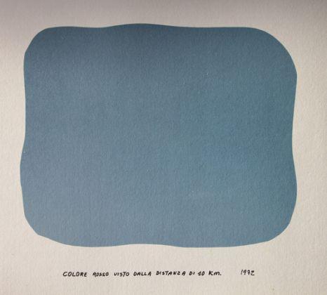 Ubaldo Bartolini, Colore rosso visto dalla distanza di 10 km, 1972, acrilico su carta, 80x60cm, Collezione privata