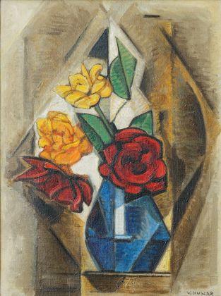 Vilmos Huszár, Vaso rettangolare con fiori, 1957. Collezione privata © TonPors 2017