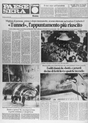 """""""Paese Sera"""", 2 gennaio 1983. Pagina dedicata alla festa di Capodanno 82 Tunnel 83"""