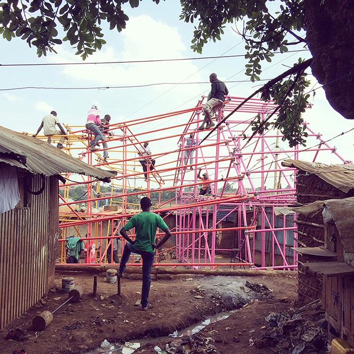 "helloeverything/SelgasCano, Kibera Hamlets School, 2016, Nairobi, Kenya. Courtesy of architects. From the 2017 organizational grant to New York Foundation for Architecture-Center for Architecture for ""Scaffolding"""