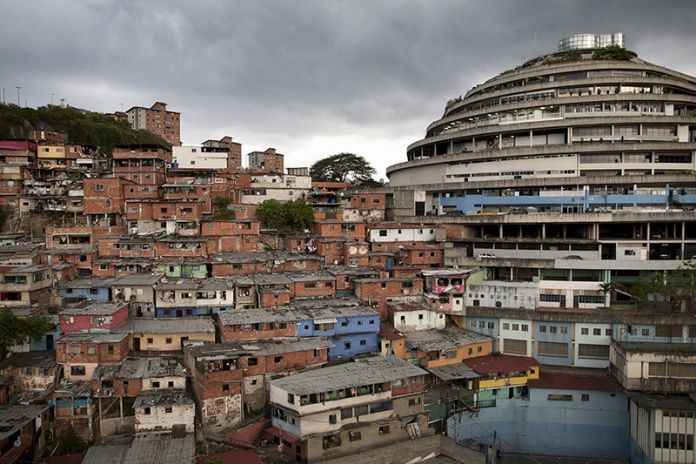 """Pietro Paolini, UR12 Downward Spiral: El Helicoide's Descent from Mall to Prison. El Helicoide, Caracas, Venezuela, 2012. Courtesy of Pietro Paolini/Terra Project. From the 2017 organizational grant to Terreform for """"UR (Urban Research) 2017"""