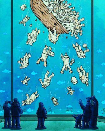 Alireza Pakdel, Immigrants, 2016 Grand Prix del 12° World Press Cartoon