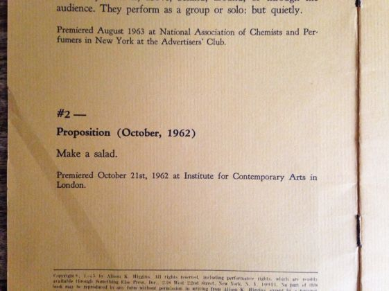Alison Knowles, Proposition #2, 1962. ICA–Institute of Contemporary Arts, Londra