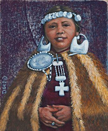 America Meredith, Mapuche Girl after Milet Ramírez. Pittura acrilica su tavola 2014