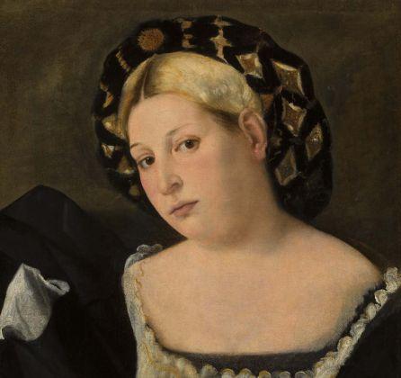 Bernardo Licinio, Ritratto di donna con balzo. Gallerie dell'Accademia di Venezia