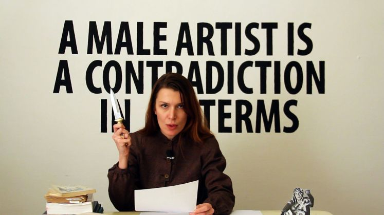 Chiara Fumai, Chiara Fumai legge Valerie Solanas , 2013, videoinstallazione, dettaglio